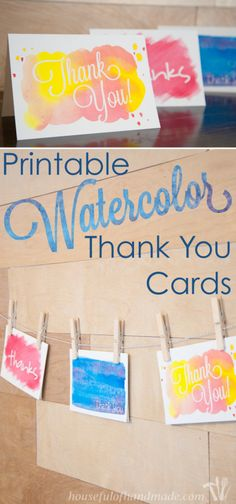 Printable Watercolor Thank You Cards are the perfect easy diy idea.