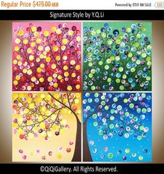 Original Four Seasons tree Painting Large Square by QiQiGallery