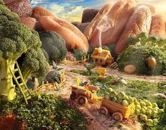 """I'm offering you to look at the new work of the English photographer Carl Warner's """"World of food"""". Fantasy Landscape, Landscape Art, Carl Warner, Food Collage, Food Sculpture, Environment Concept, Creative Advertising, What To Cook, Cute Illustration"""