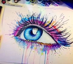 Pixie cold watercolor painter artist gallery large inked one рисунки акваре Cool Art Drawings, Art Drawings Sketches, Eye Drawings, Watercolor Eyes, Watercolor Paintings, Murciano Art, Realistic Eye Drawing, Eyes Artwork, Eye Painting