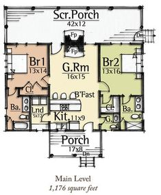 Ridiculous Tips and Tricks: Interior Painting Techniques House interior painting ideas behr. Guest House Plans, 2 Bedroom House Plans, Small House Floor Plans, Cabin Plans, Two Bedroom Tiny House, Cottage House Plans, Cottage Homes, Craftsman Cottage, Maine Cottage