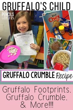 Your preschool, kindergarten, and first grade students will love this unit on The Gruffalo's Child by Julia Donaldson. I'm sharing fun activities from measuring Gruffalo footprints to making delicious Gruffalo crumble today! #gruffalocrumble #kindergarten #preschool #firstgrade #readaloud
