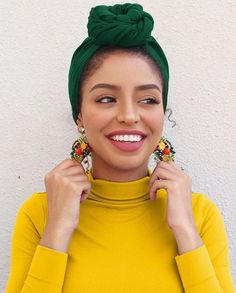 bright colors + green head scarf hair wrap