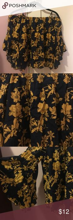 Off the Shoulder Bellbottom Sleeve Top Dark blue off the shoulder (with straps) and yellow flowers. Bellbottom sleeves and a flowy bottom. Brand new :) FavLux Tops Blouses