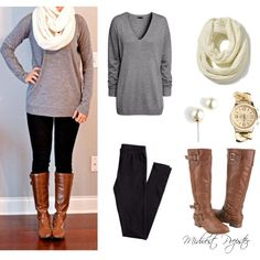 Gray sweater, black leggings/skinny jeans, brown boots with white scarf and pearls. Comfy fall/winter outfit.