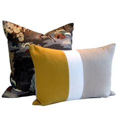 Instantly update or reinvent the colour palette of your room with contemporary tri colour striped pillows. Colour Block, Color Blocking, Color Stripes, Mustard, Pillow Covers, House Ideas, Palette, Throw Pillows, Contemporary