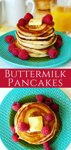 Buttermilk Pancakes with Raspberries - Peter's Food Adventures - Fluffy Buttermilk Pancakes stacked high. The perfect breakfast drenched in maple syrup, your whole family will love this tasty recipe! Best Breakfast Recipes, Sweet Breakfast, Perfect Breakfast, Brunch Recipes, Breakfast Ideas, Buttermilk Pancakes Fluffy, Tasty Recipe, Delicious Recipes, Healthy Recipes