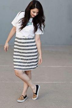t-shirt dress + leopard flats
