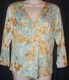 $18.99 CAbi Blue Gold Rayon Blend Stretch Knit Empire Top L Style 332