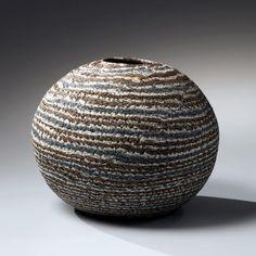 Matsui Kosei, neriage vase, ca. 1970, marbleized stoneware, Japanese ceramics, Japanese pottery, Japanese sculpture, Japanese neriage, Japanese…