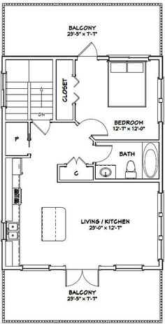 House -- -- 830 sq ft - Excellent Floor Plans This is a good idea! 1 Bedroom House Plans, Garage Apartment Floor Plans, Cabin House Plans, Garage Apartments, Garage Plans, The Plan, How To Plan, Granny Pods, Casa Loft