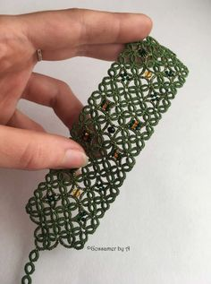 Green tatting bracelet weaving handmade lace for by GossamerbyA