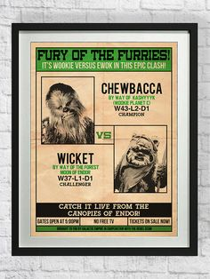 Star+Wars+Poster+Chewbacca+Art+Print+Ewoks+by+pikselmatic+on+Etsy,+$5.00