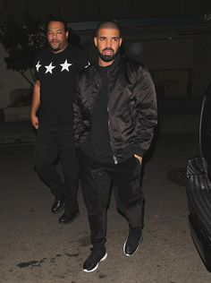 Drake sports Acne Studios Bomber jacket and Nike Sneakers in West Hollywood #drake #acnestudios #bomberjacket #westhollywood #nike #sneakers