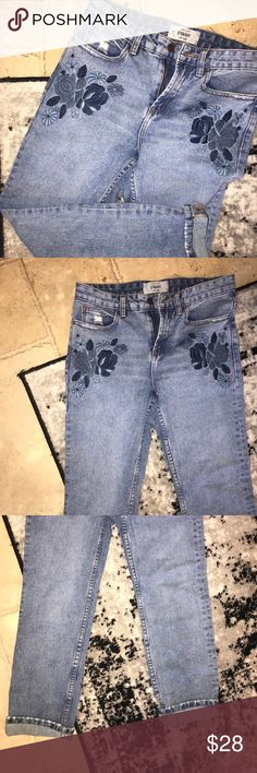 ASOS / straight leg embroidered jeans i looooove these. the wash, the embroidery, the straight leg, and the distressed pocket in the back are all sooo adorable. i wish they fit me still. i wore these once! they're a UK size but I believe them to be a US size 26. ASOS Jeans Straight Leg