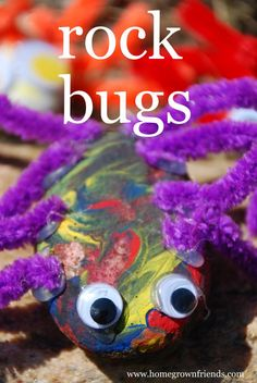 Rock Bugs- So cute!  My kids have played with them ALL week!  Find more fun and easy kid activities and recipes at www.homegrownfriends.com.