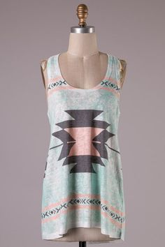 Mint Aztec Tank – Bloom and Snow Boutique