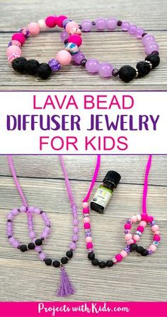 Lava bead diffuser jewelry for kids is so easy and fun to make! Kids can customize their diffuser jewelry with their favorite colors and essential oils, or they can customize it for a special handmade gift for Mother's Day or any occasion. A great diy jew Diy Crafts Jewelry, Kids Jewelry, Diy Jewelry Making, Handmade Jewelry, Handmade Gifts, Jewelry Sets, Diy Gifts, Making Bracelets, Kids Bracelets