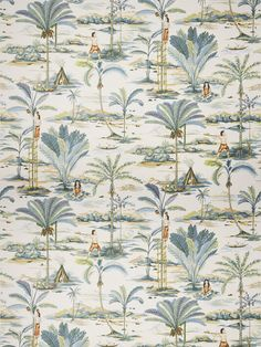 9014102 Island Palms Copen by Vervain Fabric Vervain Fall 2017 Linen, Cotton, Nylon United Kingdom see fabric sample Horizontal: 27 inches and Vertical: 44 inches 54 inch min (See samples) - Fabric Carolina - Drapery Fabric, Fabric Decor, Fabric Design, Print Design, Curtains, Hand Embroidery Design Patterns, Fabric Patterns, Cute Christmas Wallpaper, Tropical Fabric