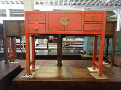 Asian Inspired Console Table in Red Los Angeles by housecandyla, $599.00
