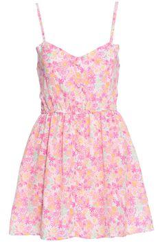ROMWE | ROMWE Flower Print Buttoned Embellished Pink Camisole Dress, The Latest Street Fashion