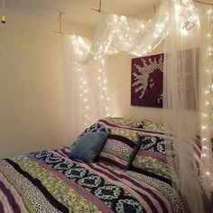 45 pretty girls bedroom ideas for small rooms 41 12 Romantic Bedroom Decor, Bedroom Decor For Teen Girls, Small Room Bedroom, Teen Girl Bedrooms, Small Rooms, Bedroom Ideas, Master Bedroom, Bed Canopy With Lights, Bed Lights