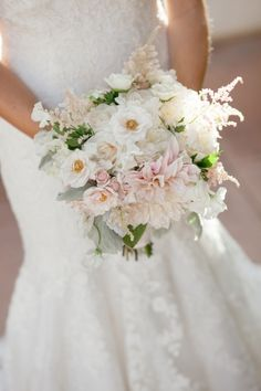 Pale blush bouquet // photo by Frenzel Studios, http://theeverylastdetail.com/2013/10/16/timeless-champagne-blush-wedding/