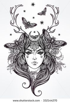 Hand drawn beautiful artwork of Banshee portriat - a female spirit in Irish mythology. Alchemy, religion, spirituality, occultism, tattoo art, coloring books. Isolated vector illustration.