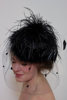Vintage Black Cappelli Hat Fascinator with Veil Netting and Feathers