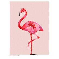 Geometric flamingo art print - hardtofind.