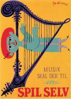 Bjorn Wiinblad Danish Scandinavian Art by StudioGStationery Vintage Advertisements, Vintage Ads, Vintage Posters, Cool Posters, Travel Posters, Poster Ads, Poster Prints, Scandinavian Art, Collage