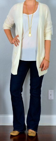 Outfit Posts: outfit post: cream boyfriend cardian, bootcut jeans, nude cutout flats