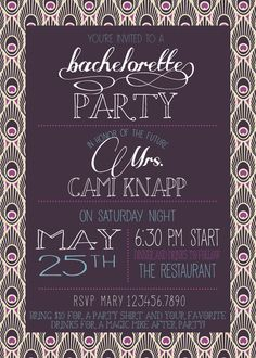 Peacock Bachelorette Party Invite-Printable by RAWkonversations