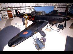 Boulton Paul Defiant turret fighter, Battle of Britain Hall, Royal Air Force Museum, Hendon, Lon,don, England.