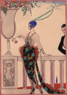 "George Barbier (1882 - 1932) French Artist. ""Laissez moi seule"". Art Deco oil painting on canvas."
