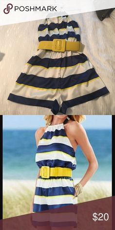 Belted Striped Romper Perfect condition. Worn only once. Blue and Yellow striped Romper. Venus Pants Jumpsuits & Rompers