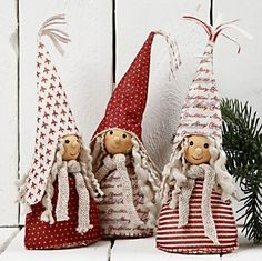 Pixies with photo tutorial and pattern.10933 Christmas Decorations made from Design Felt