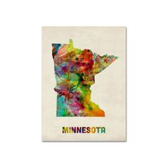 Great Big Canvas 'Minnesota Watercolor Map' by Michael Tompsett Graphic Art Print Format: White Frame, Size: H x W x D Map Canvas, Canvas Frame, Canvas Wall Art, Canvas Size, Rainbow Painting, Watercolor Canvas, Art Graphique, Artist Canvas, 5 D