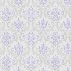 """Lilac and Silver Gray Damask Fabric by the Yard 
