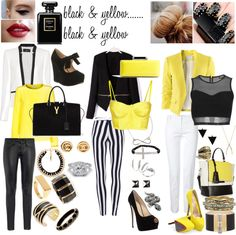 """black & yellow"" by chels1695 on Polyvore"