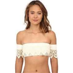 O'Neill Fashion Solids Off The Shoulder Top Women's Swimwear, Beige ($25) ❤ liked on Polyvore featuring swimwear, bikinis, bikini tops, beige, bandeau bikini, bandeau swimwear, bandeau tops, macrame bikini top and macrame bikini