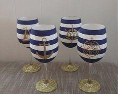 Nautical Painted Wine Glasses