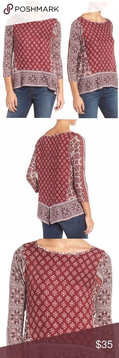 "NWT Lucky Brand Border Print Top Brand New with Tags Lucky Brand Border print top. A boho mix of medallion and tile prints styles a breezy top eased with a back slit and hi-lo hem. - Boatneck - 3/4 length sleeves - Slips on over head - Allover print - Vented back - Hi-lo hem - Approx. 25"" shortest length, 27.5"" longest length  100% viscose Lucky Brand Tops"
