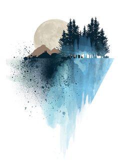 Blue mountain wall art art print watercolor by WhiteDoePrints