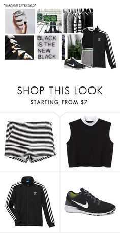 """#6"" by adventures-at-neverland ❤ liked on Polyvore featuring H&M, Monki, adidas, NIKE, GREEN, blackandwhite and polyvoreeditorial"