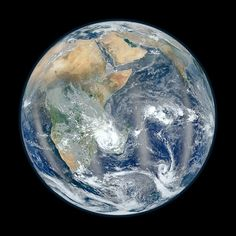 """NASA has released the flip side of its newest """"Blue Marble"""" image of Earth, revealing Africa, the Middle East, and the Indian subcontinent. The original Blue Marble photo of earth was snapped from about miles away from Earth by Apollo 17 astronauts. Earth And Space, Cosmos, Fun Facts About Earth, Earth's Mantle, Marbles Images, Foto Blog, Earth Photos, Nature Photos, Earth Surface"""