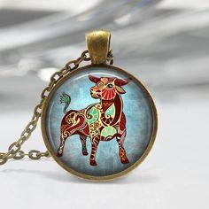 Taurus Zodiac Glass Pendant Taurus Zodiac by lalapinkdesigns