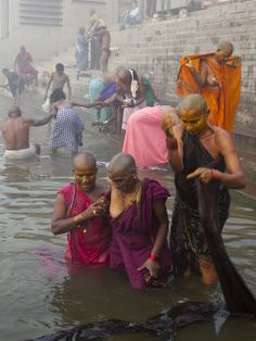 venerating the Ganges River, India