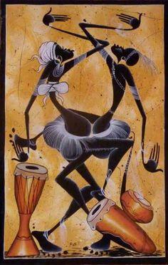African Abstract Art, African Artwork, African Art Paintings, Afrique Art, African Dance, Haitian Art, Jazz Art, Black Art Pictures, Art Africain