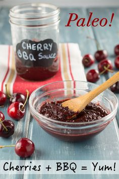 This low-sugar, Cherry BBQ Sauce is naturally sweetened with fruit, which makes it a great Paleo option!  Try it on Ribs or chicken!